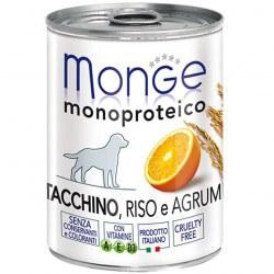 Monge Tacchino, Riso e Agrumi 400g umido monoproteico per cani