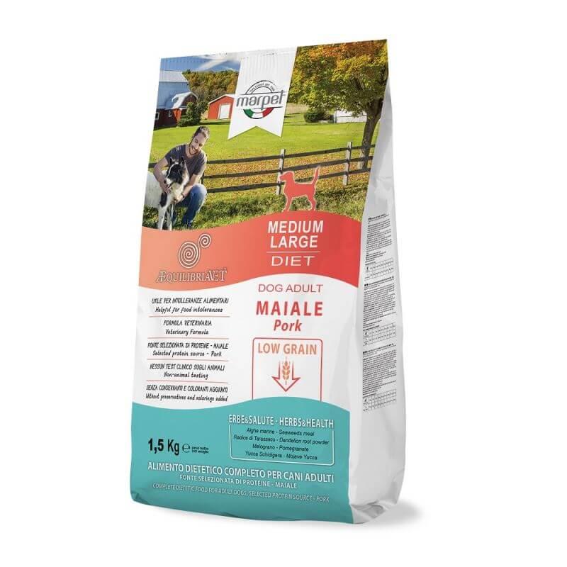 Equilibria Dog 100% Maiale Low Grain Adult Medium Large 1,5kg