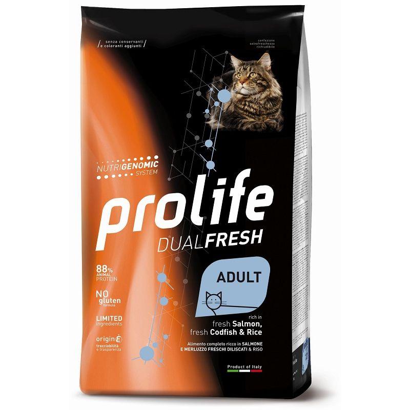 Prolife Salmone Merluzzo e riso Adult 7kg Nutrigenomic crocchette gatto