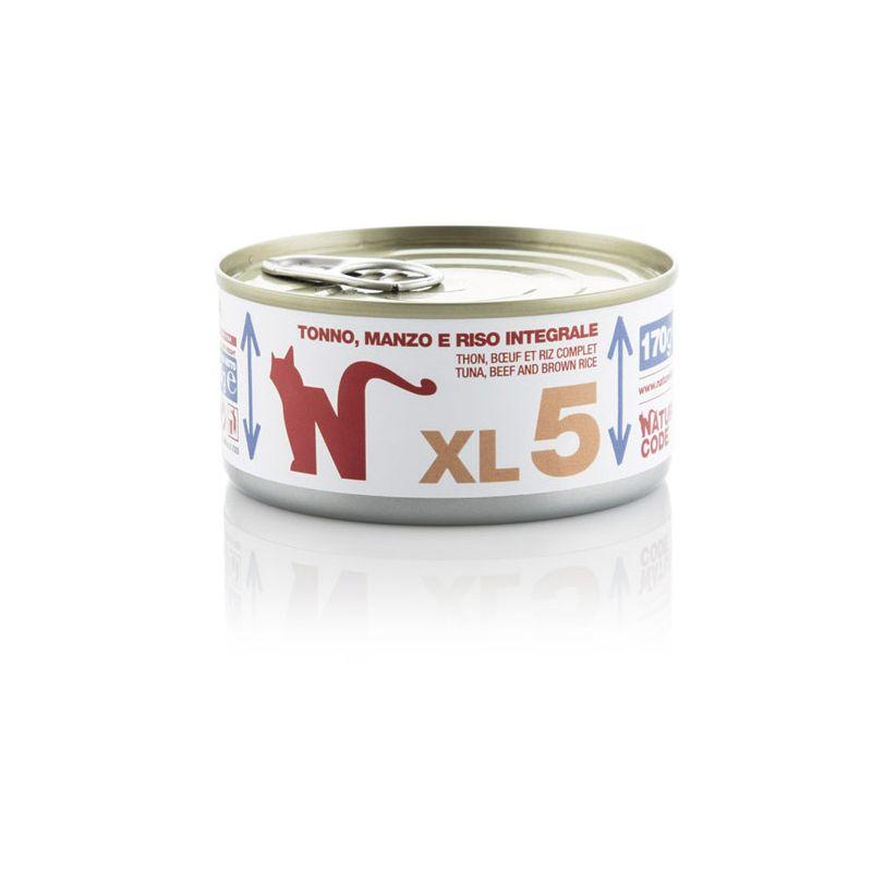 Natural Code MULTIPACK 48 pezzi XL 5 Tonno Manzo Riso integrale 170g umido gatto