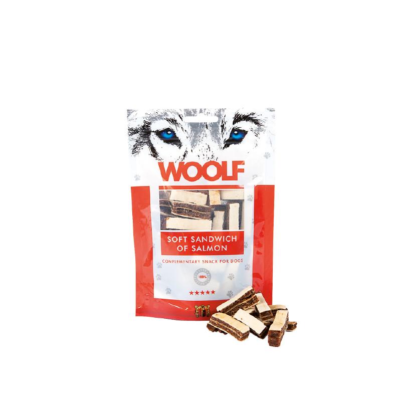 Woolf Sandwich morbido di Salmone e Merluzzo 100g snack cani