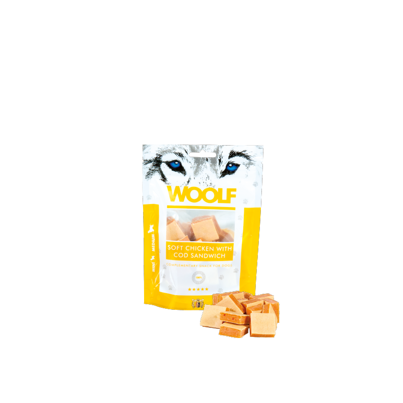 Woolf Sandwich morbido di pollo e merluzzo 100g snack cani