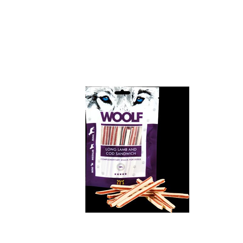 Woolf Sandwich lungo di agnello e merluzzo 100g snack cani