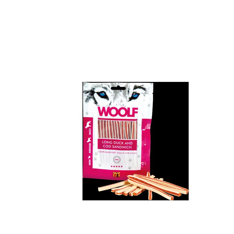 Woolf Sandwich lungo di anatra e merluzzo 100g snack cani
