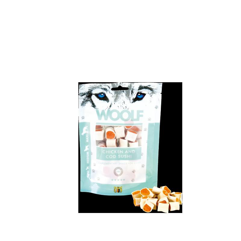 Woolf Sushi di pollo e merluzzo 100g snack cani
