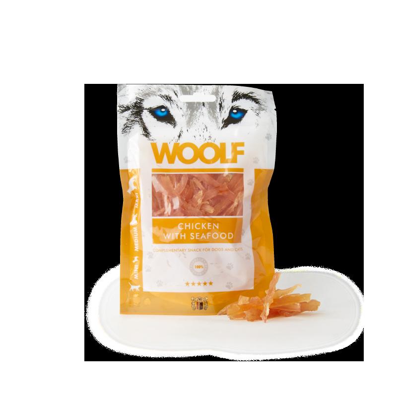 Woolf Straccetti di pollo e frutti di mare 100g snack cani