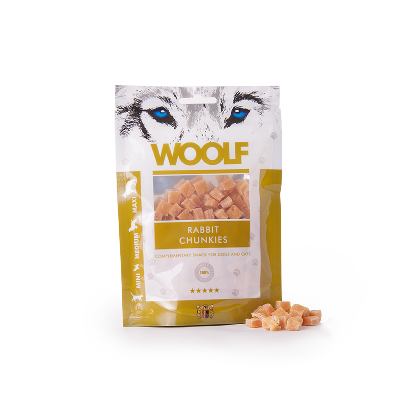 Woolf Bocconcini morbidi di coniglio 100g snack cani