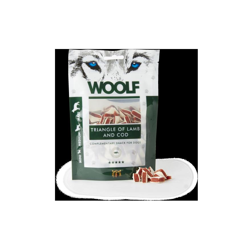 Woolf Triangolini di agnello e merluzzo 100g snack cani