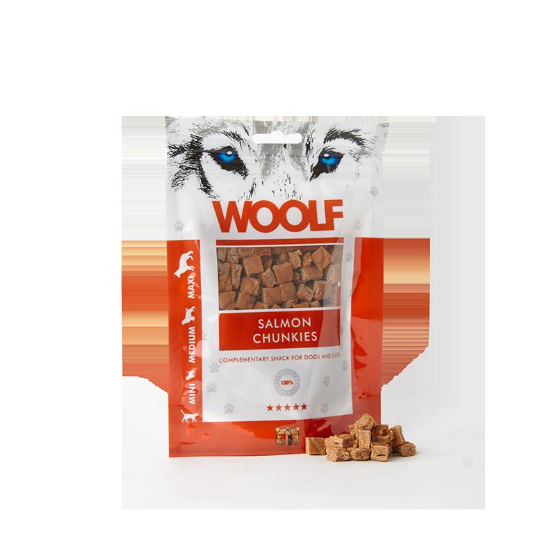 Woolf Bocconcini morbidi di salmone 100g snack cani