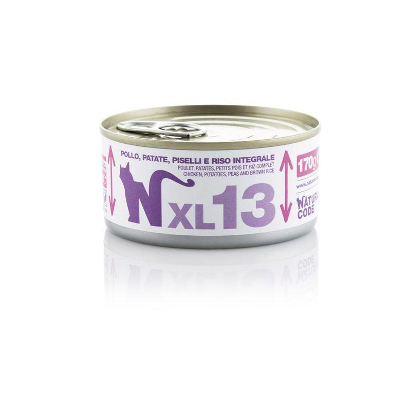 Natural Code XL 13 Pollo Patate Piselli e riso 170g MULTIPACK 48 pezzi umido gatto