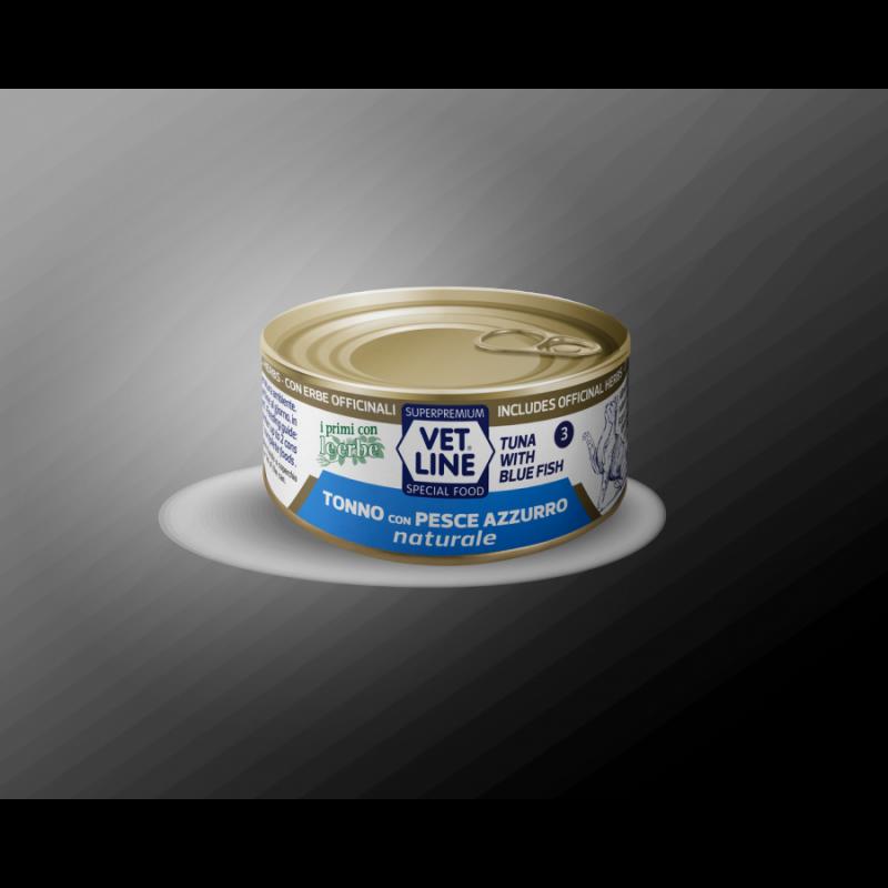 Vet Line Tonno con Pesce Azzurro naturale 70g umido gatto in acqua di cottura