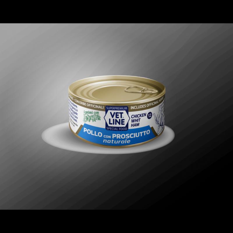 Vet Line Pollo con Prosciutto naturale 70g umido gatto in acqua di cottura