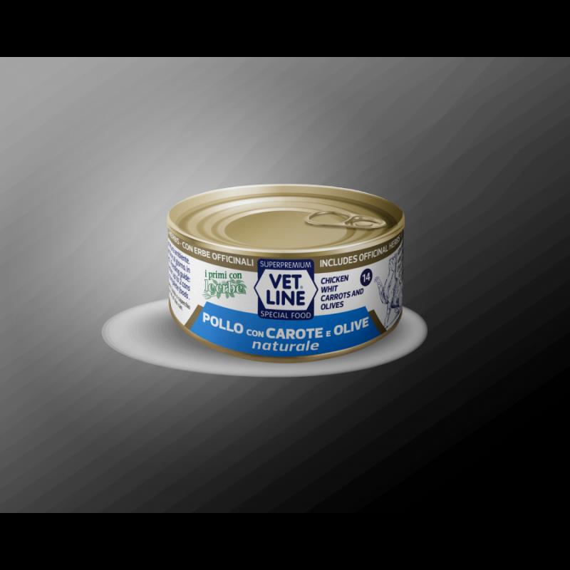 Vet Line Pollo con Carote e Olive naturale 70g umido gatto in acqua di cottura