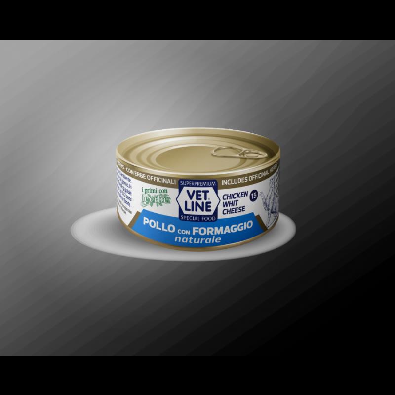 Vet Line Pollo con Formaggio naturale 70g umido gatto in acqua di cottura
