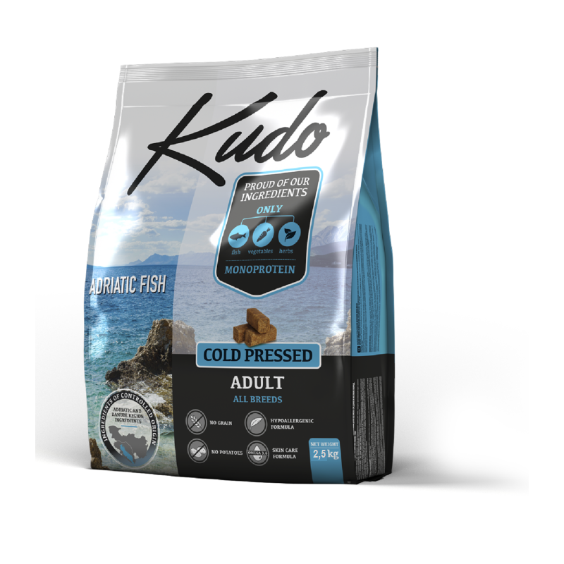 Kudo Adriatic Fish 2,5kg Adult Medium Maxi grain free pressato a freddo