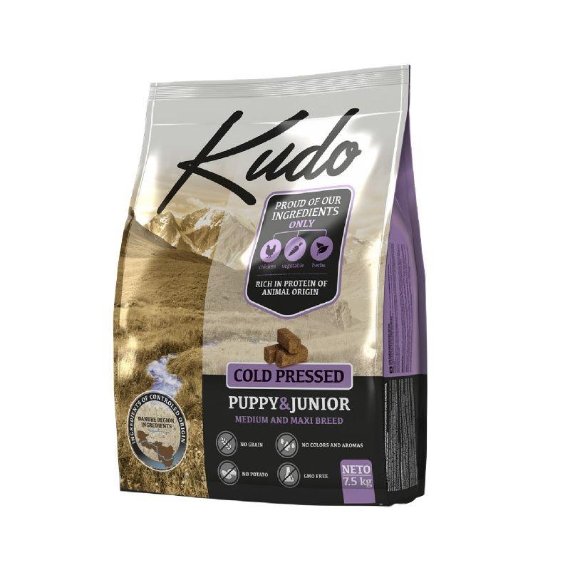 Kudo Puppy Junior Pollo 7,5kg Medium Maxi grain free pressato a freddo