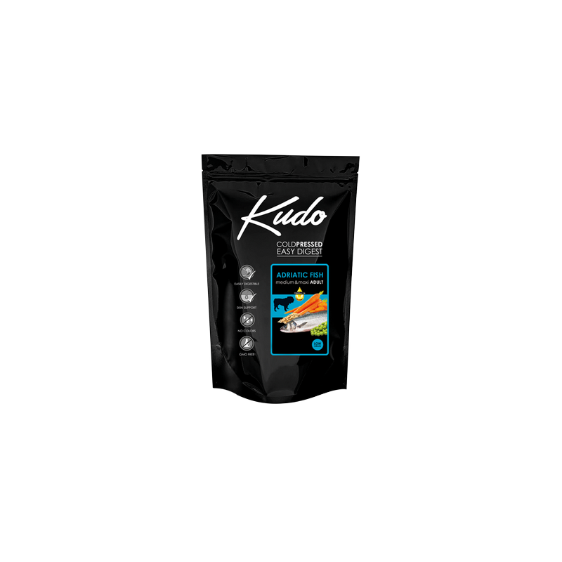 Kudo Adult Adriatic Fish 3kg Medium Maxi pressato a freddo per cani