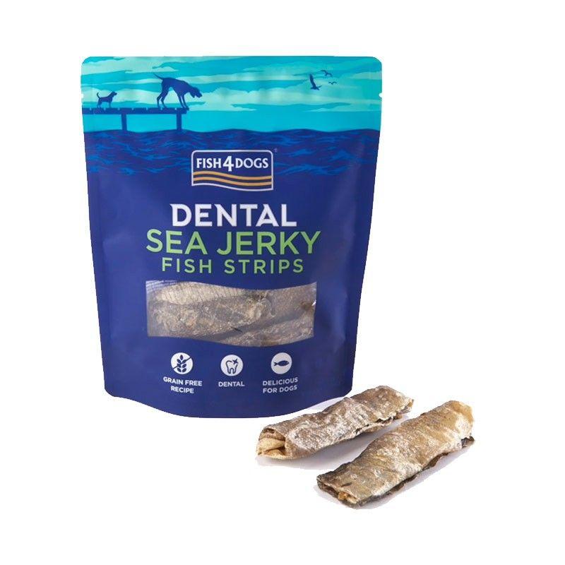Fish4Dogs Dental Sea Jerky Fish Strips 100g snack per cani