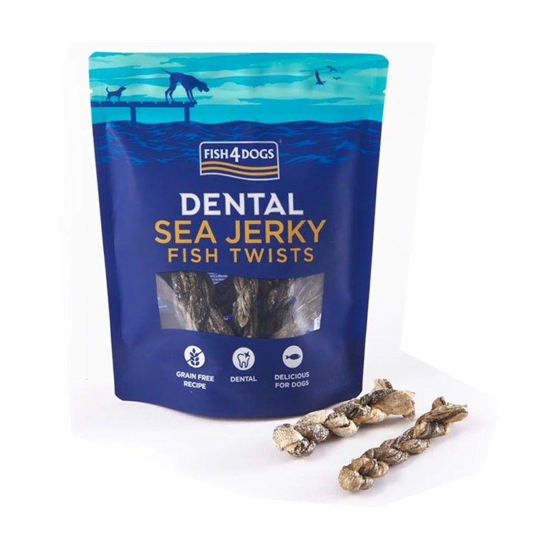 Fish4Dogs Dental Sea Jerky Fish Twists 100g snack per cani