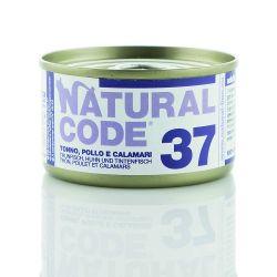 Natural Code 37 Tonno Pollo e Calamari 85g umido gatto